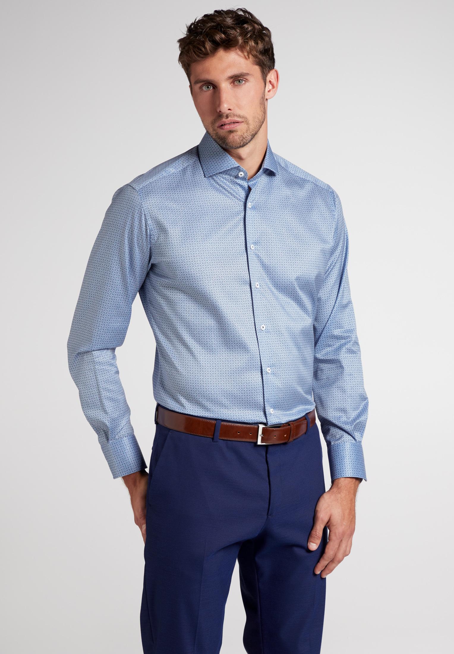 ETERNA Langarm Hemd blau gemustert Print Modern Fit
