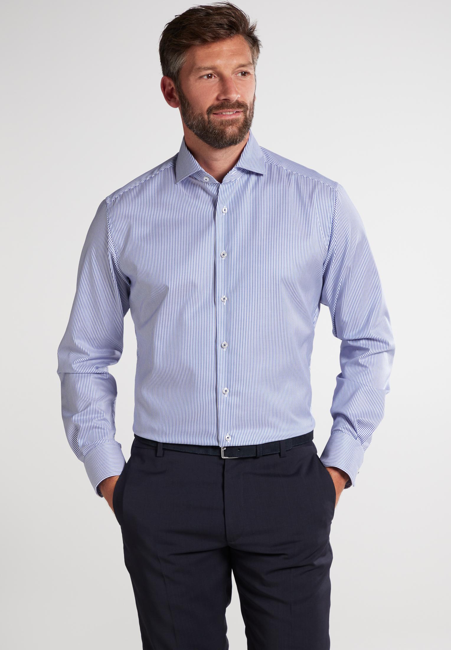 ETERNA Langarm Hemd - blaue Streifen Twill Modern Fit
