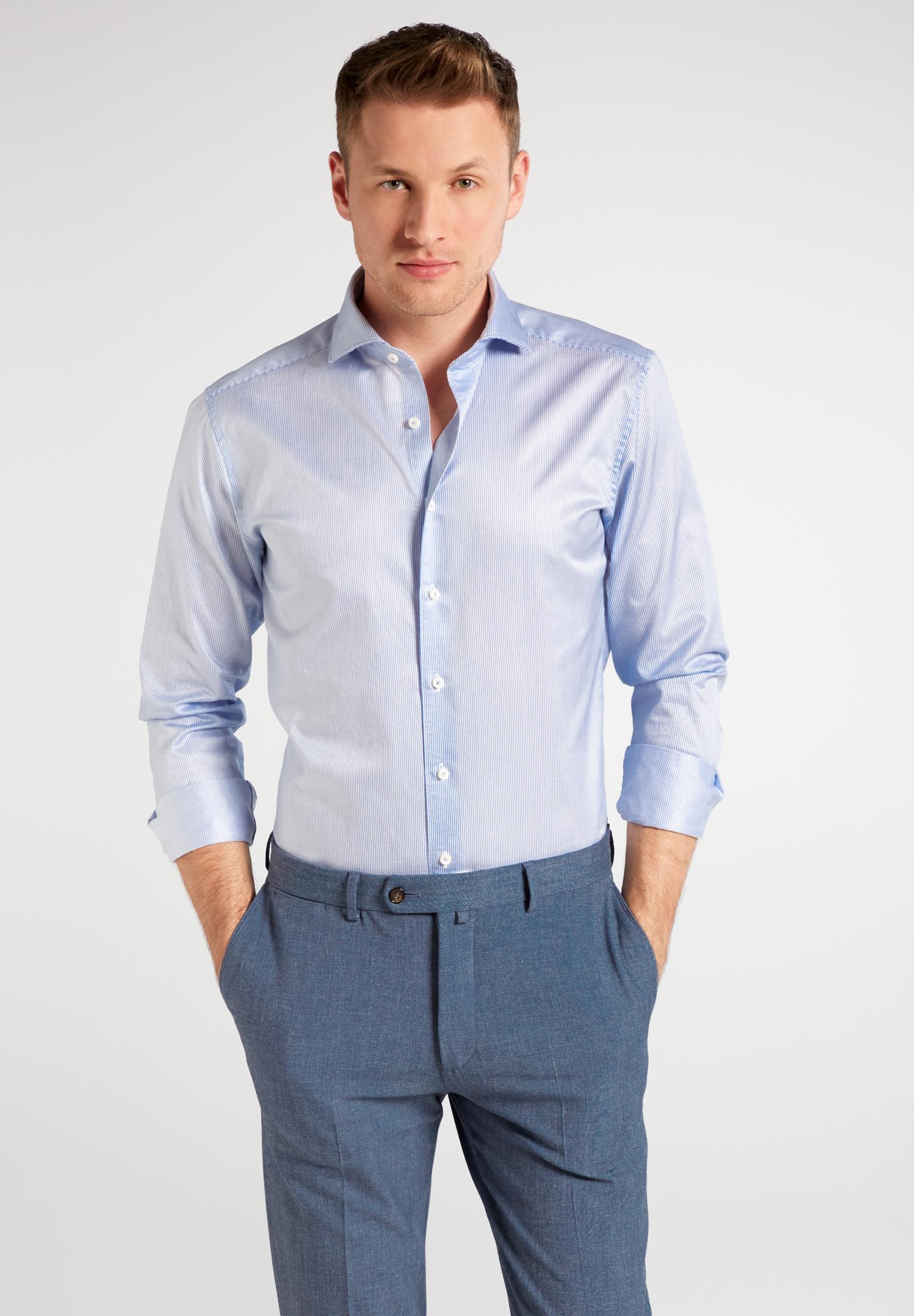 ETERNA Langarm Hemd blaue Streifen Strech Slim Fit