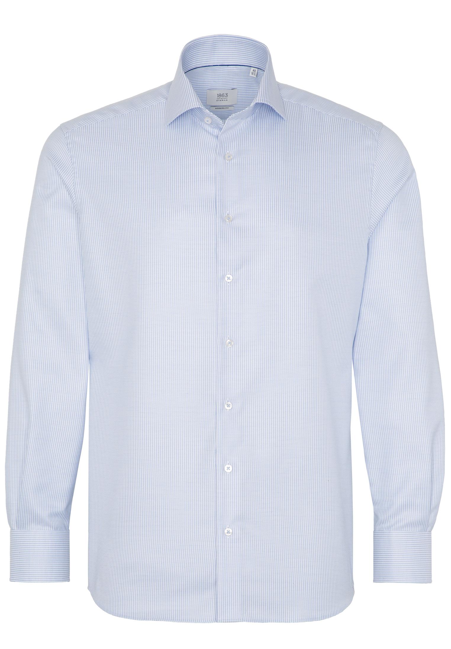 ETERNA Langarm Hemd blau mit Struktur Modern Fit